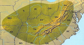 coverage map Wildflowers of Tennessee, the Ohio Valley, and the Southern Appalachians by Dennis Horn and Tavia Cathcart